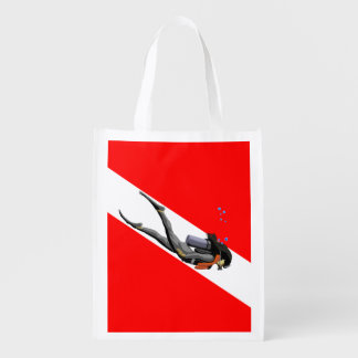 Diver And Dive Flag Grocery Bags