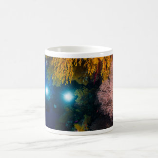 Diver and Soft Corals on the Great Barrier Reef Basic White Mug