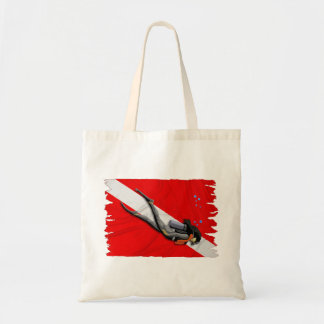 Diver And Wrinkled Dive Flag Canvas Bags