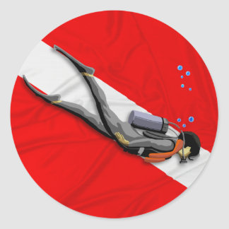 Diver And Wrinkled Dive Flag Round Sticker