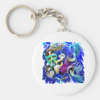 Diver Dog Basic Round Button Key Ring