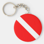Diver Down Classic Flag SCUBA Basic Round Button Key Ring