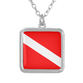 Diver Down Flag Silver Plated Necklace