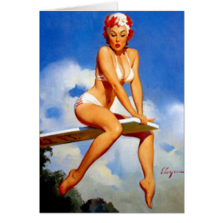 Diver Pin Up Card
