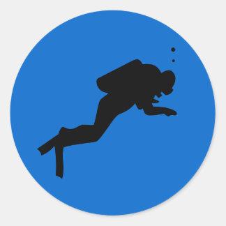 Diver Silhouette - Round Sticker