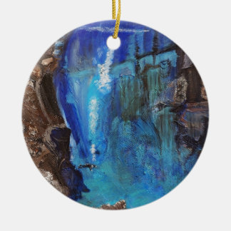 Diver, under water, ravine, ocean, rock christmas ornament