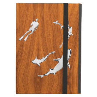 Diver with Sharks Silhouettes on Teak Veneer Case For iPad Air
