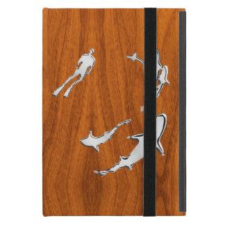 Diver with Sharks Silhouettes on Teak Veneer iPad Mini Cases