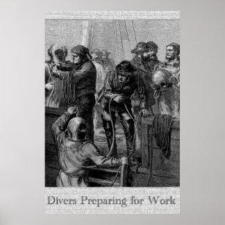 Divers Preparing for Work 36 x 24 Poster