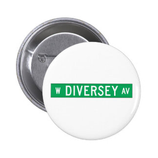 Diversey Avenue, Chicago, IL Street Sign 6 Cm Round Badge