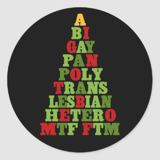 Diversity Holiday Tree Classic Round Sticker