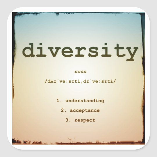 Diversity Square Stickers, Glossy, Large, 3 inch Square