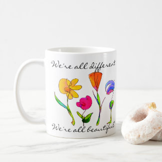 Diversity We Are All Beautiful Hand Drawn Flowers Coffee Mug