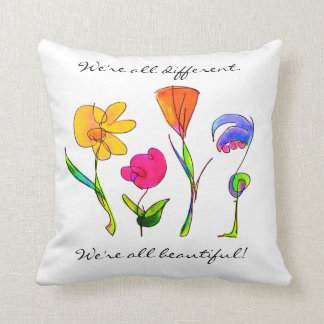Diversity We Are All Beautiful Hand Drawn Flowers Throw Pillow