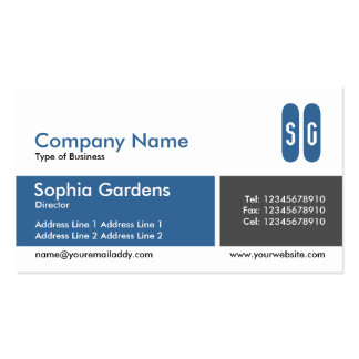 Divided Band Blue and Dark Gray - Initials Business Card Templates