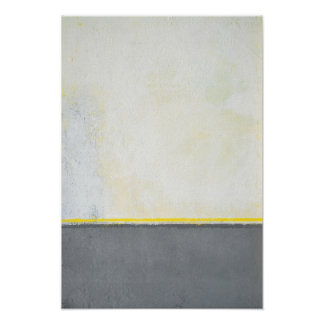 'Divided' Grey and Yellow Abstract Art Poster