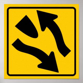 Divided Highway Begins Highway Sign Poster