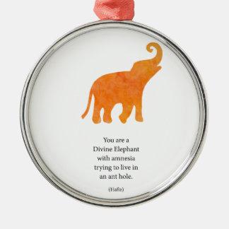 Divine Elephant Silver-Colored Round Decoration