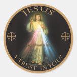 DIVINE MERCY, JESUS I TRUST IN YOU. ROUND STICKER