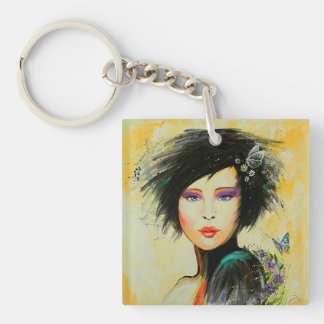 Divine Olivia Double-Sided Square Acrylic Key Ring