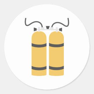Diving bottles round sticker