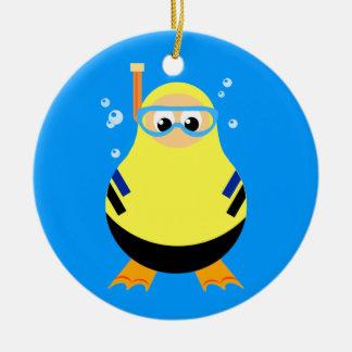 Diving Cartoon Snorkeler Christmas Ornament