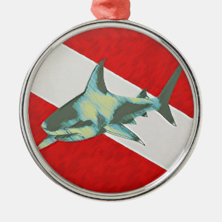 diving flag shark christmas ornament