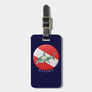 diving flag shark luggage tag