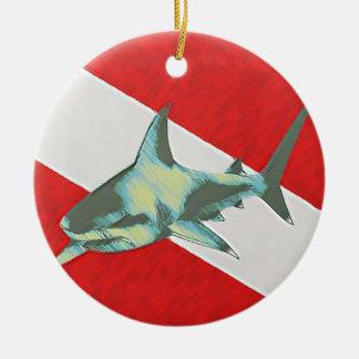diving flag shark round ceramic decoration