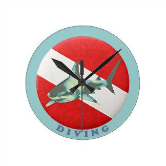 diving flag shark wallclocks