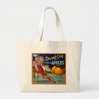 Diving Girl Apples - Vintage Fruit Crate Label Large Tote Bag