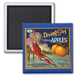 Diving Girl Apples Vintage Fruit Crate Label Magnet