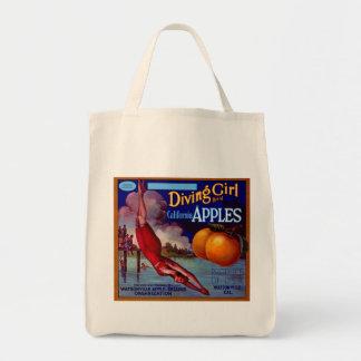 Diving Girl California Apples Tote Bag