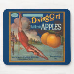 Diving Girl California Apples Mouse Pad