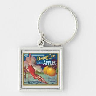 Diving Girl Vintage Apples Label Key Chains