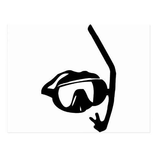 diving goggles and snorkel postcards