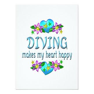 Diving Heart Happy Invites