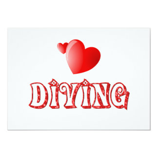 Diving Hearts 13 Cm X 18 Cm Invitation Card