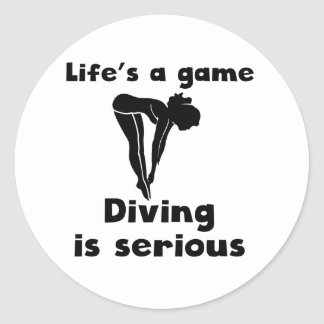 Diving Is Serious Round Stickers