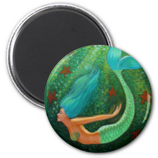 Diving Mermaid 6 Cm Round Magnet