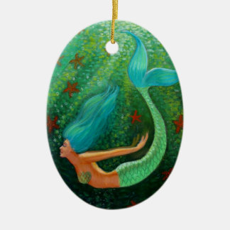 Diving Mermaid Fantasy Art Oval Christmas Ornament