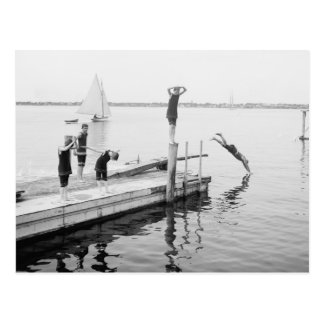 Diving Off The Pier, 1904 Postcard