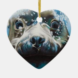 Diving pitbull design christmas ornament