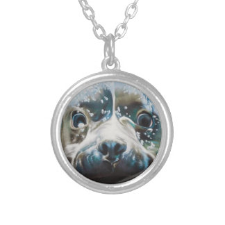 Diving pitbull design silver plated necklace