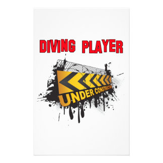 Diving Player Under Construction Personalized Stationery