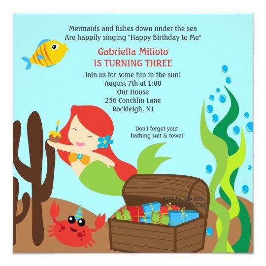 Diving Red Hair Mermaid Girl's Birthday Invitation