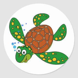 Diving Sea Turtle Round Stickers