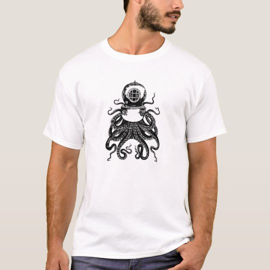 Diving Steampunk Victorian Octopus Kraken T-Shirt