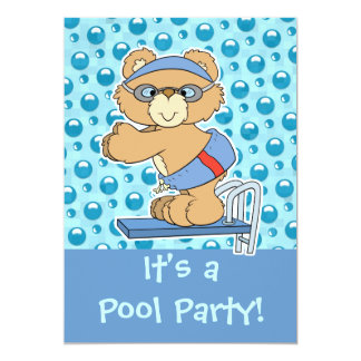 Diving Teddy Bear Pool Party Invite