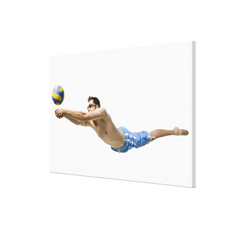 Diving volleyball player canvas print